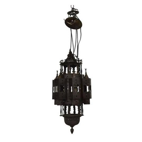 Large Vintage Mid 20th Century Moroccan Moorish Fanous Brass Hanging Lantern For Sale In Denver - Image 6 of 6