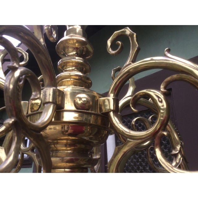 Gold Large Dutch Style Brass Chandelier For Sale - Image 8 of 11