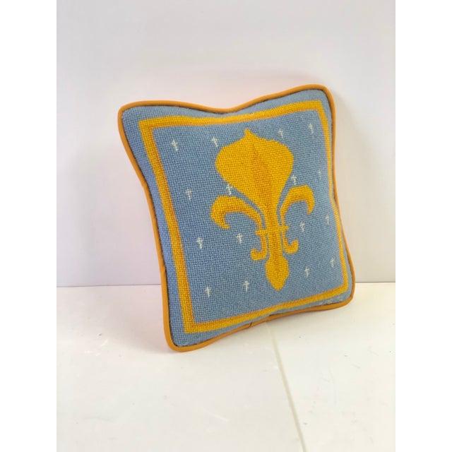 Vintage Fleur-De-Lis Petite Needlepoint Pillow For Sale - Image 10 of 10