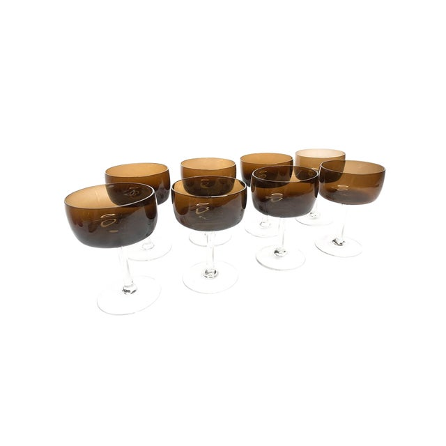 Vintage Mid Century Modern Hand Blown Brown Glass Champagne Glasses With Clear Glass Stems - Set of 8 For Sale