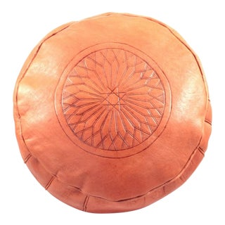Modern Orange Leather Moroccan Pouf Ottoman For Sale