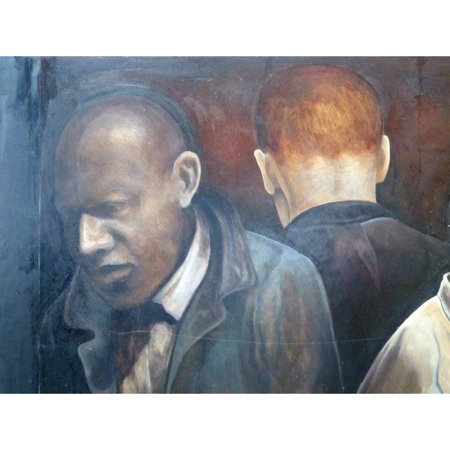"""Modern Modern """"3 Men"""" Portrait Oil Painting Signed Berner 1994 For Sale - Image 3 of 8"""