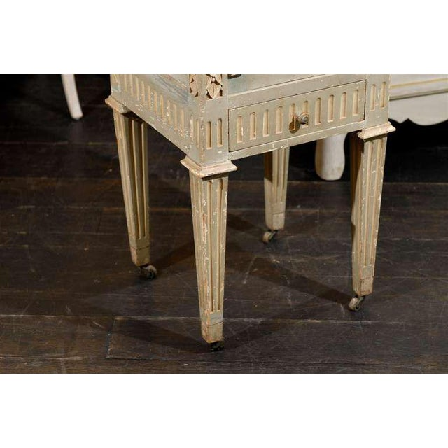White French Drop-Front Nightstand Table on Casters and Marble Top For Sale - Image 8 of 11