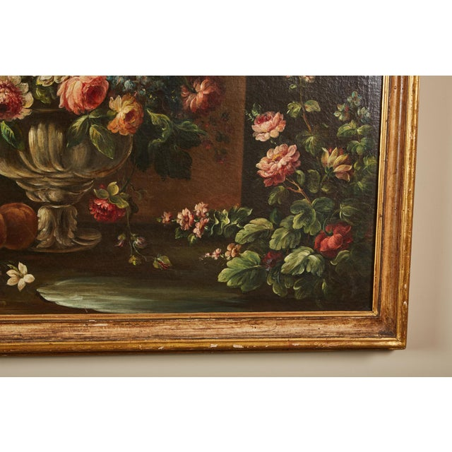 Pair of 19th Century Italian School Still Life Large Oil-On-Canvas Painting within a Giltwood Frame For Sale - Image 9 of 10