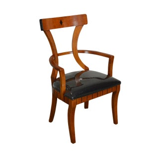 Biedermeier Style Custom Quality Cherry Arm Chair For Sale