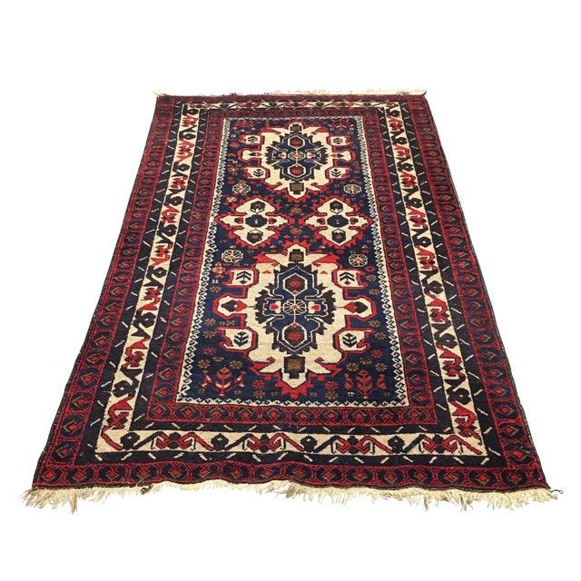Hand Woven Afghan Rug - 3′11″ × 6′9″ - Image 1 of 6
