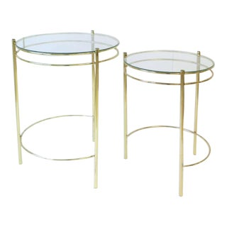 1970s Vintage Modern Round Brass and Glass Nesting Side Tables- a Pair For Sale