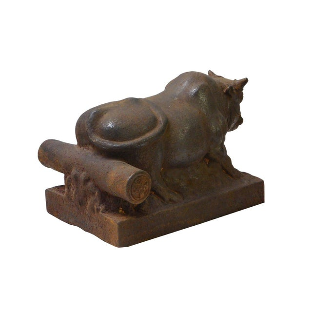 Figurative Chinese Vintage Rustic Iron Handmade Muscular Zodiac Cow Statue For Sale - Image 3 of 5