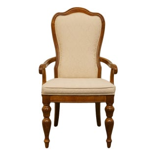 Late 20th Century Vintage Stanley Furniture Italian Tuscan Style Upholstered Dining Arm Chair For Sale