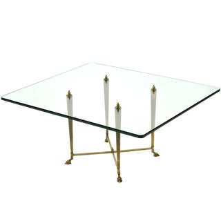 Italian Glass Top Coffee Table with Brass Hoof Base For Sale