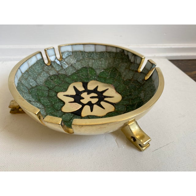 Mid 20th Century Salvador Teran Brass and Glass Tile Bowl For Sale In Los Angeles - Image 6 of 6