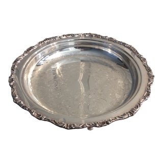 Early 20th Century Crescent Silver Plate Tray For Sale
