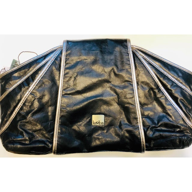 Mid-Century Modern 1980s Style -- New Kooba Oversized Black Leather Clutch For Sale - Image 3 of 8