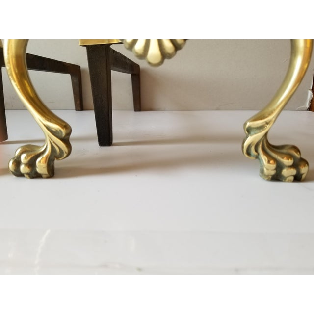 Mid-Century English Style Large Brass Andirons-A Pair For Sale - Image 12 of 13