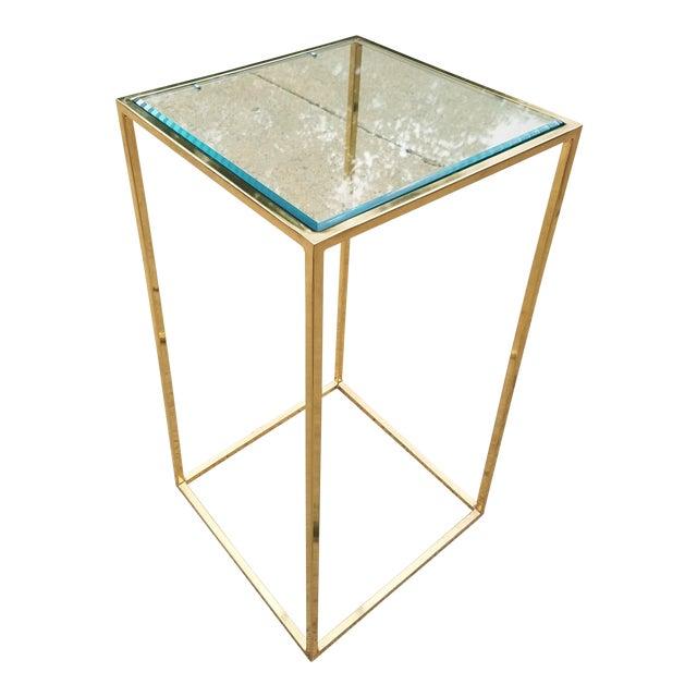 Milo Baughman Style Brass & Glass Pedestal Art Stand For Sale
