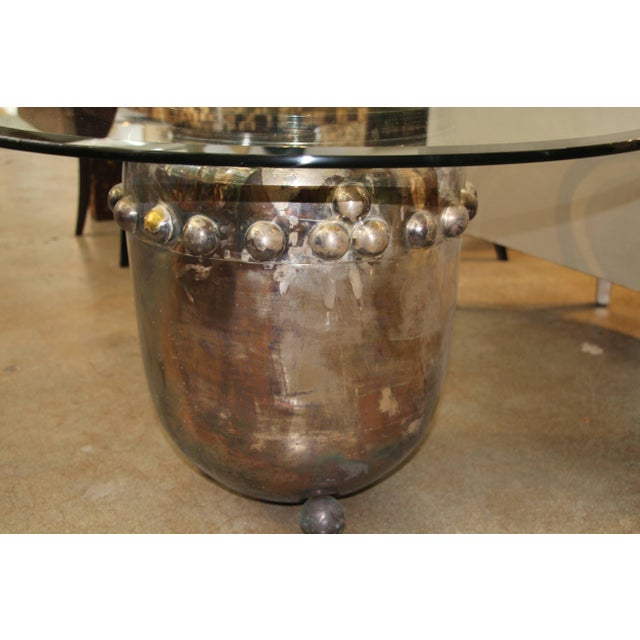 Asian Silver Plated Drum Table For Sale - Image 4 of 5