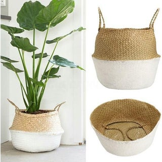 White Dipped Seagrass Belly Basket Preview