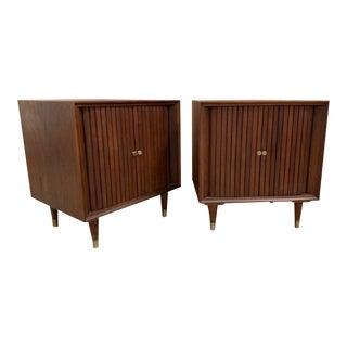 Pair Mid Century Modern Nightstands With Tambour Doors For Sale