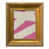 Image of Ron Giusti Mini Abstract Pink Cream Acrylic Painting, Framed For Sale