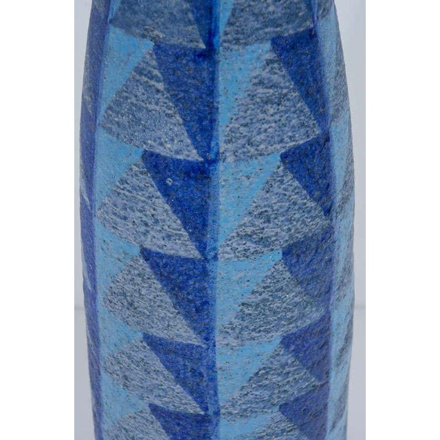 Bitossi Tall Blue Geometric Ceramic Vase For Sale - Image 9 of 10