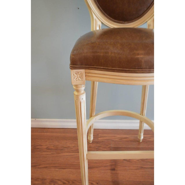 Beech Louis XVI Style Painted Oval Back Bar Stool for Custom Order For Sale - Image 7 of 9