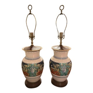 Italian l'Antica Deruta Vases Mounted as Lamps - a Pair For Sale