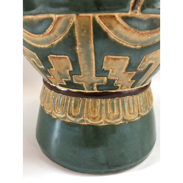 Tall Green Vintage Ming Horses Decorative Vase For Sale In Boston - Image 6 of 8