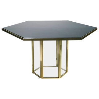 1970s Hollywood Regency Romeo Rega Black Lacquer Brass Glass Dining Table For Sale