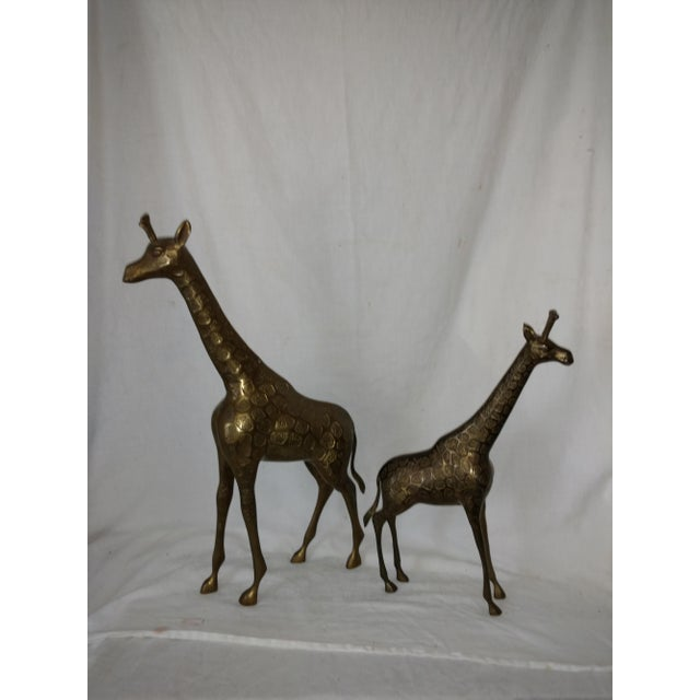 Sarreid Ltd. 22 Inch 1960's Mid Century Brass Giraffe and Baby - a Pair For Sale - Image 4 of 10