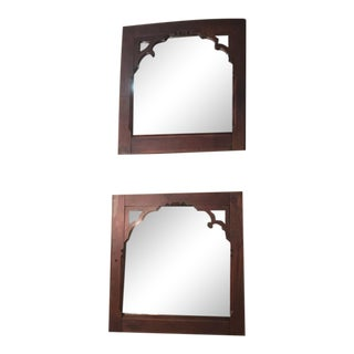 Early 18c Pair of Pine Gothic Confessional Door Mirrors - Historical For Sale
