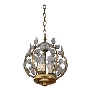 German Manufactured C1920 Art Deco Maison Bagues Style Cut Crystal Petals W/ Bronze Vines Chandelier/ Ceiling Fixture For Sale