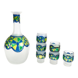Vintage Painted Glass Decanter Set With 6 Shot Glasses For Sale