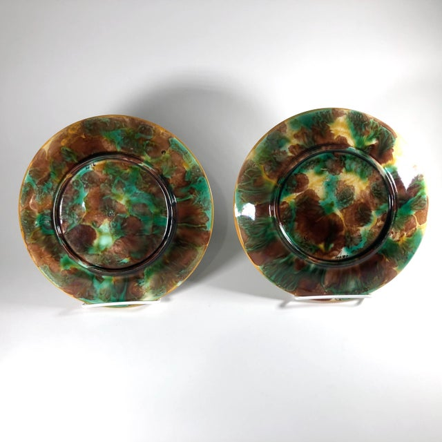 George Jones 19th Century Aesthetic Movement George Jones Majolica Chestnut Leaf Plates - a Pair For Sale - Image 4 of 6