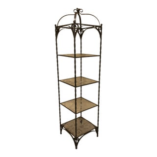 Vintage Wrought Iron Standing Shelf For Sale