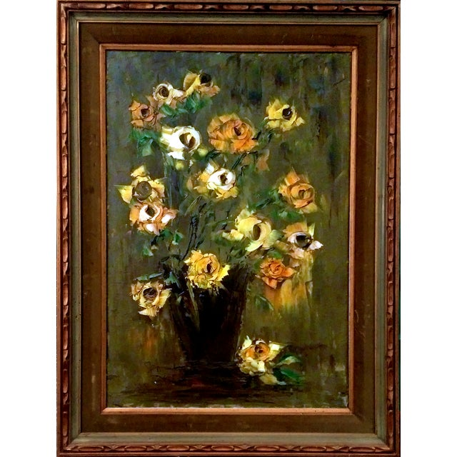 Mid-Century Palette Knife Floral Painting - Image 1 of 10