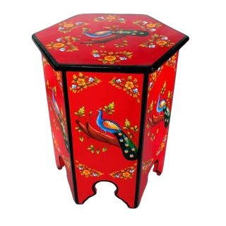 Moroccan Peacock Design Top Solid Wood Hand-Painted End Table For Sale