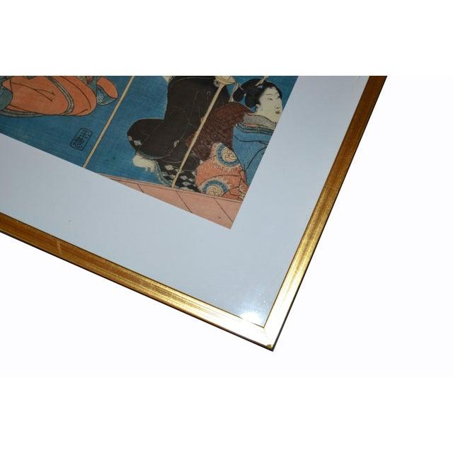 Wood Utagawa Kuniyoshi Japanese Original Gilt Framed Woodcut Print on Paper C. 1845 For Sale - Image 7 of 11