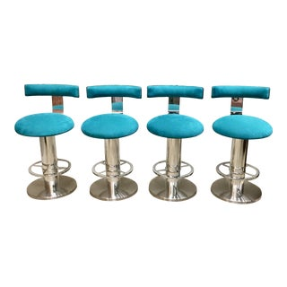 1980s Vintage Designs for Leisure Suede & Chrome Counterstools - Set of 4 For Sale