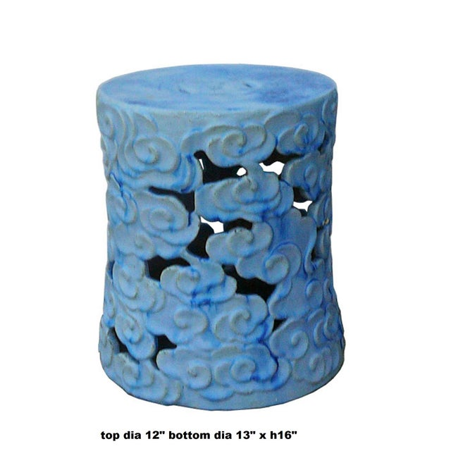 2010s Ceramic Clay Light Blue Glaze Round Scroll Pattern Garden Stool For Sale - Image 5 of 6