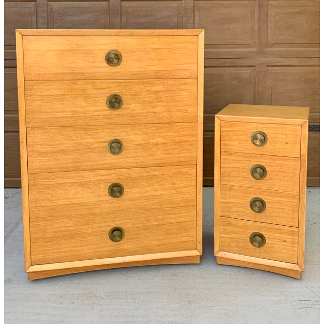 A gorgeous dresser set by Thomasville circa 1960's. The hardware is brass and it is original with some age appropriate...