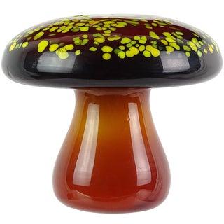 Murano Orange Yellow Italian Art Glass Mid Century Mushroom Toadstool Paperweight For Sale