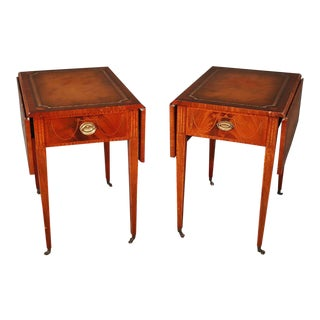Pair of Sheraton Style Inlaid Mahogany Leather Top Pembroke Tables For Sale