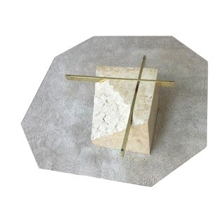 1970s Art Deco Brass and Glass Tessellated Stone Pedestal Coffee Table For Sale