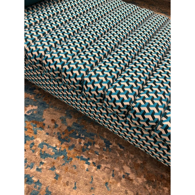 Contemporary Teal Patterned Daybed For Sale In Boston - Image 6 of 10