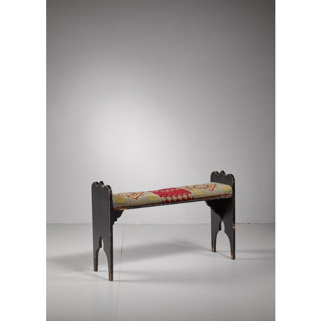 Folk art bench from Sweden, late 19th century For Sale - Image 4 of 4