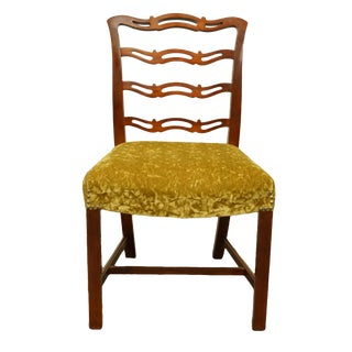 Late 20th Century Drexel Heritage Duncan Phyfe Solid Cherry Ladder Back Dining Side Chair For Sale