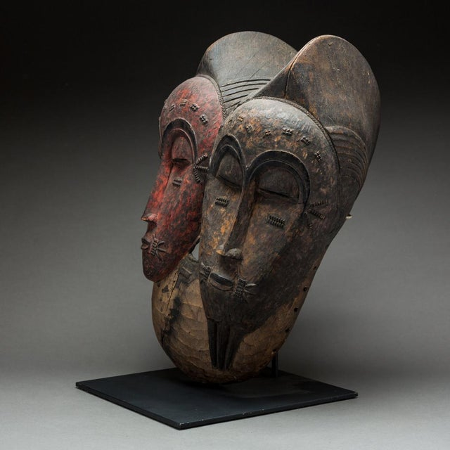 African Baule Bicephalous Wooden Mask For Sale - Image 3 of 5