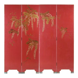 Double-Sided Leather Burgundy Red Wisteria Scene Room Divider Screen by Lawrence & Scott For Sale