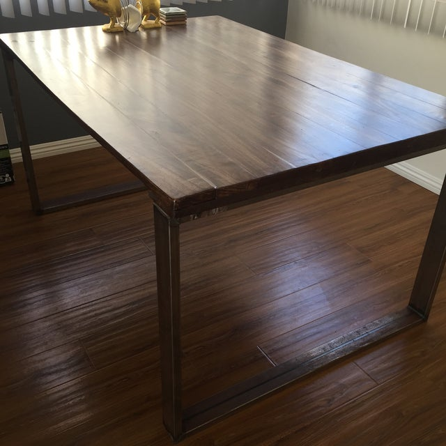 Handmade Reclaimed Wood Dining Table - Image 3 of 9