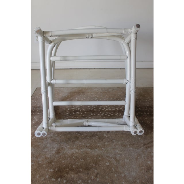 Vintage Mid Century White Bamboo Chairs - a Pair For Sale - Image 11 of 12